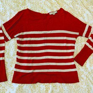 Loft Orange and White Striped Sweater S
